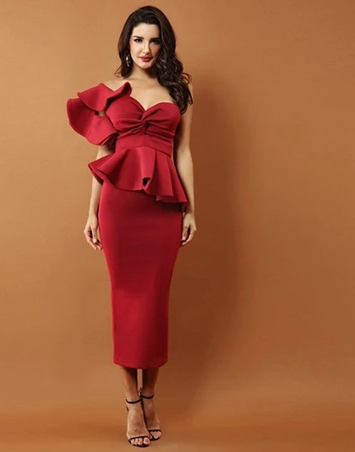 Two Piece One Shoulder Ruffle Top and Pencil Skirt