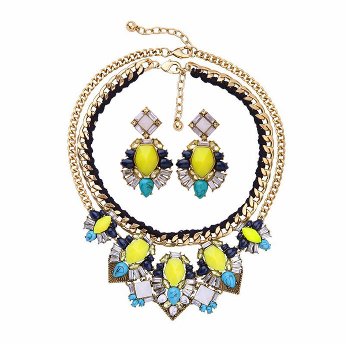 Limoncello Statement Necklace + Earring Set - BEST SELLER