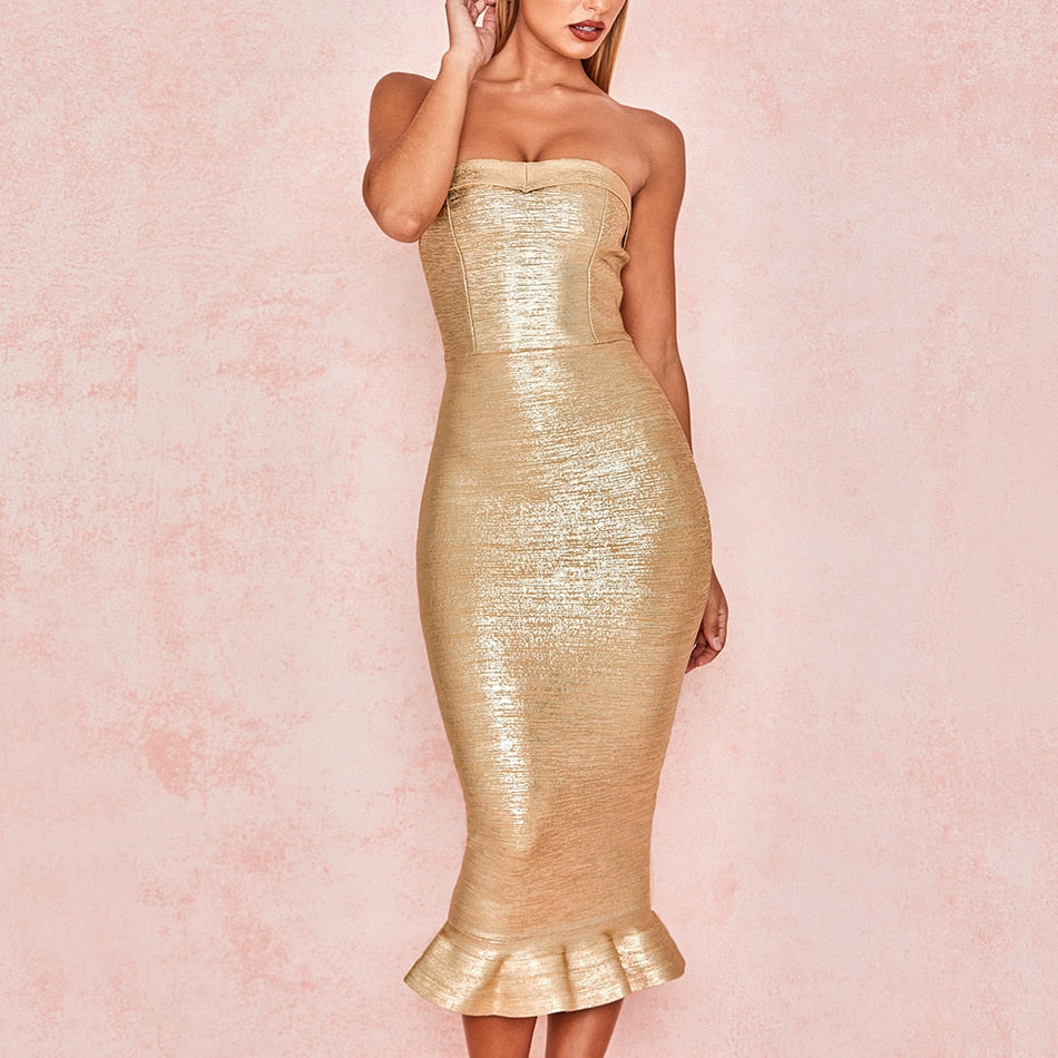 Gold Strapless Bandage Dress