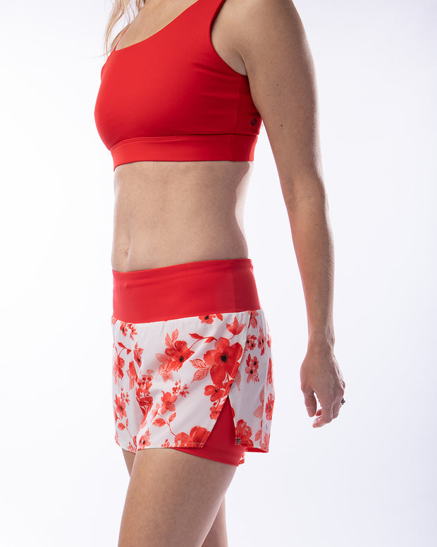 No Excuses Shorts - Red Floral