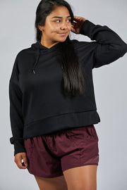 Roam Free Cropped Pulled Over - Black