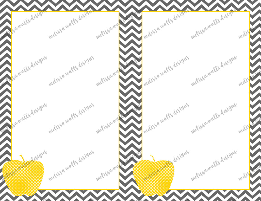 Grey chevron with apple notes