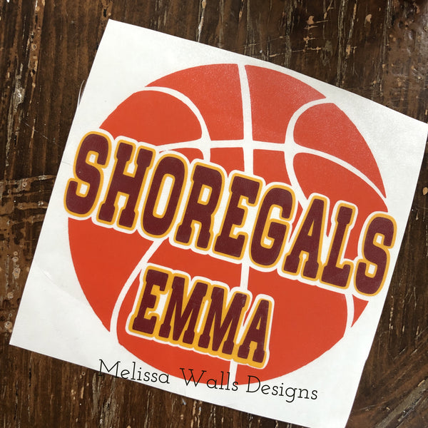 Decals -Shoregals Basketball Car Decal (read description below before ordering)
