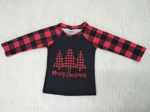 Merry Christmas Red Black Buffalo Top