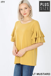 Lt Mustard Ruffled Sleeve Top Plus IN STOCK