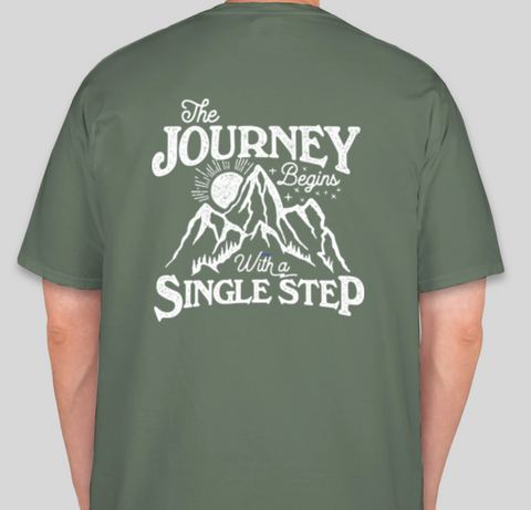 """The Journey Begins"" Comfort Colors Short Sleeve T-shirt with front pocket"