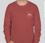 """The Journey Begins"" Comfort Colors Long Sleeve T-shirt with front pocket."