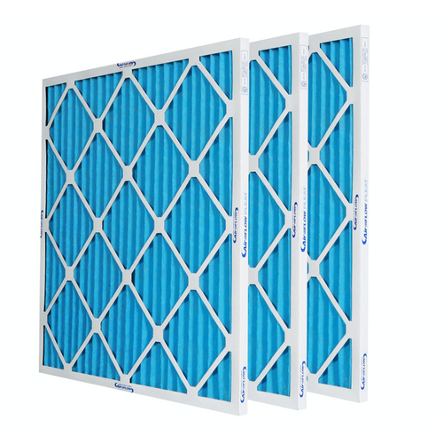 three blue pleated residential air filters 1 inch