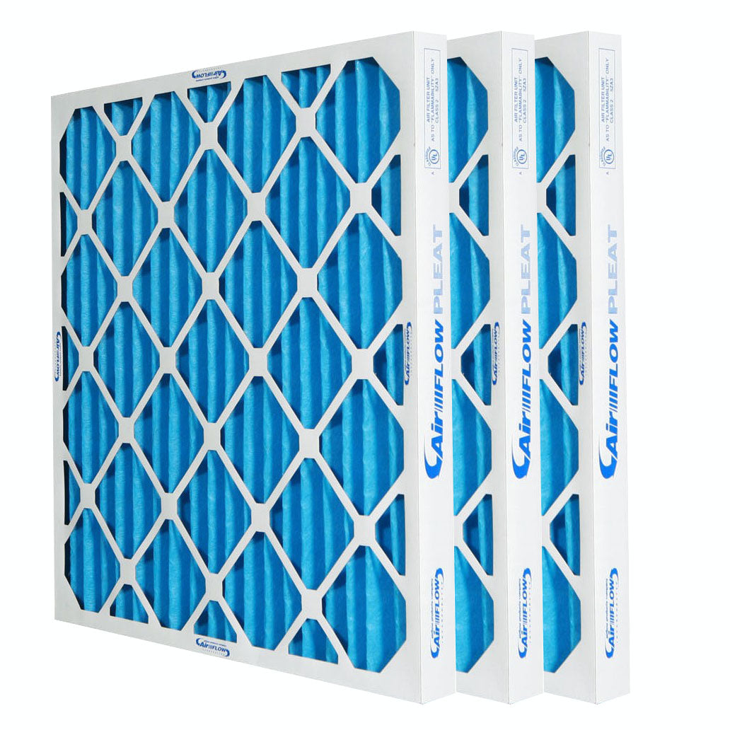 three blue MERV 10 Pleated Air Filters residential commercial