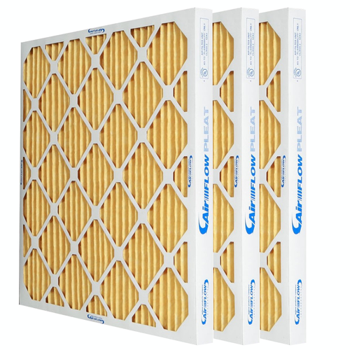three yellow 2 inch MERV 11 Pleated Air Filters for home