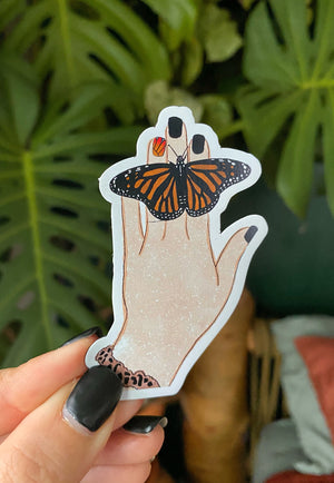 Monarch Butterfly on Hand Magnet