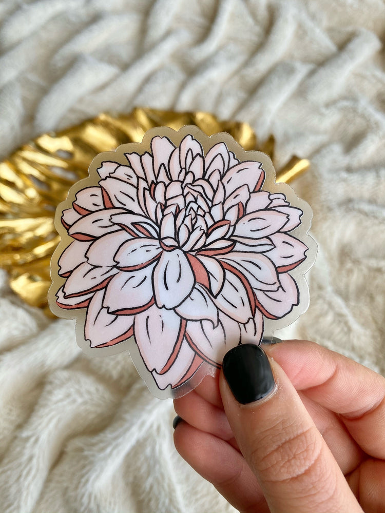 Clear Pink Peony Flower Vinyl Sticker