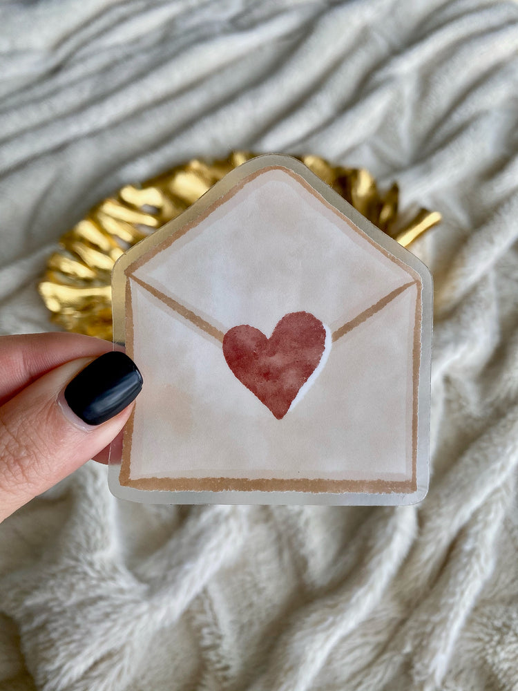 Clear Heart Mail Vinyl Sticker