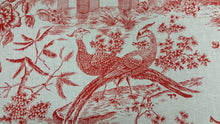 "Load image into Gallery viewer, 100% Linen Williamsburg ""Toile Orientale"" in Poppy Red"