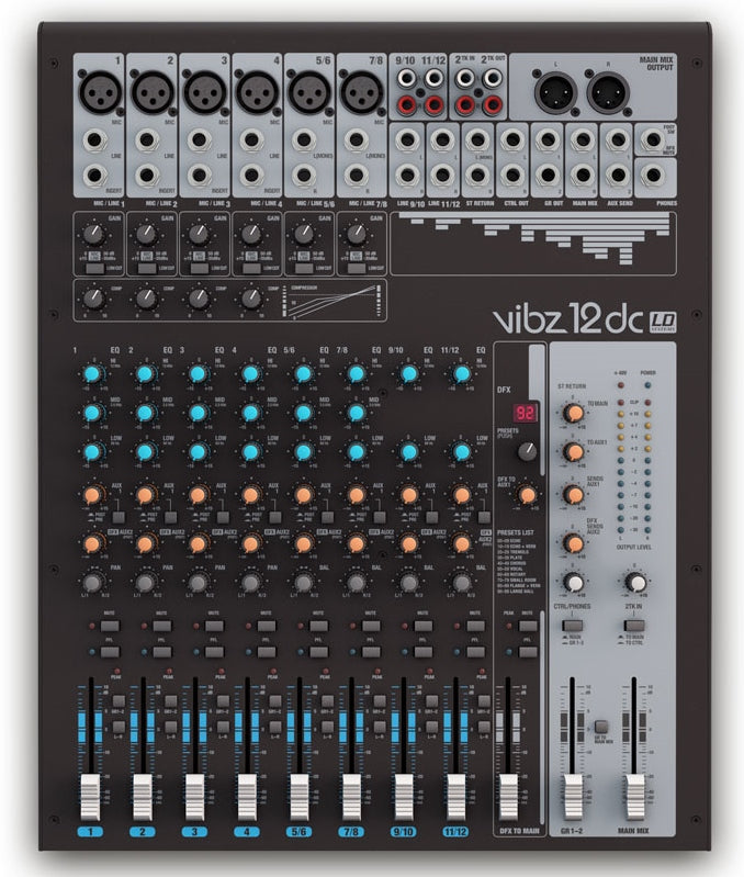 LD Systems VIBZ 12 DC 12-channel Mixing Console with DFX and Compressor