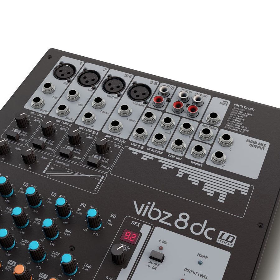 LD Systems VIBZ 8 DC 8-Channel Mixing Console with DFX and Compressor