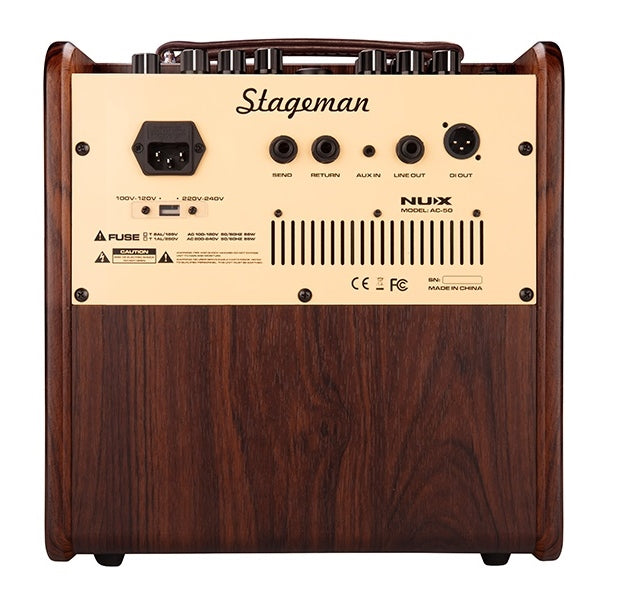 NUX Stageman AC-50 Analog Acoustic Amp with Ambient EFX and Bluetooth Footswitch
