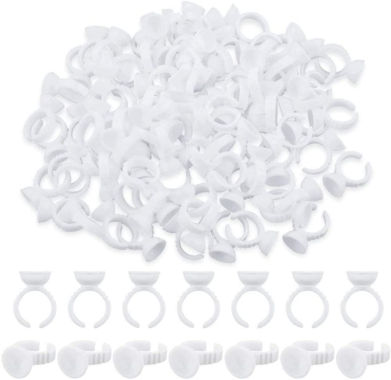 100  Pcs Disposable Eyelash Glue Holder Rings, Eyelash Extension Glue Ring Holder Eyelash Extension Accessories Adhesive Pigment Holders