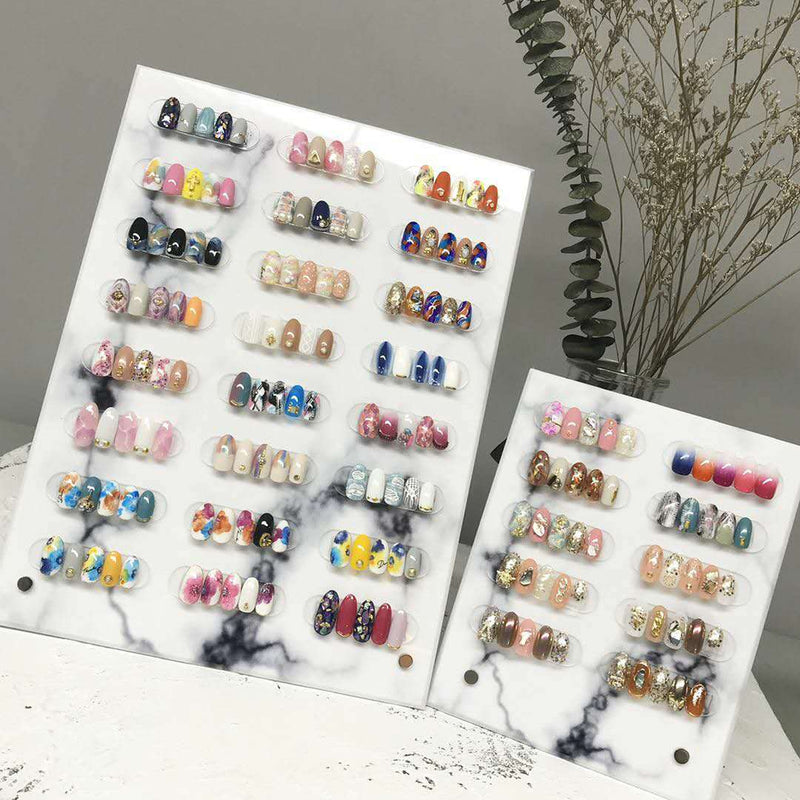 【 Buy 2 Get 1 Free 】Big Size / Nail Art Marble Display Stand Acrylic False Nail Showcase with 24 Magnet Strips