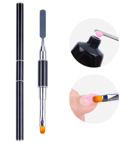 【BUY 5 GET 1 FREE 】Poly Gel Builder Brush Acrylic UV Gel Nails Tips Extension Brushes (Black)