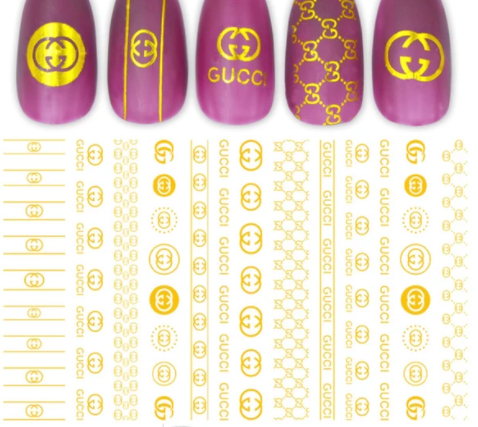 Gold Logo Luxury Brand Nail Sticker Nail Decals