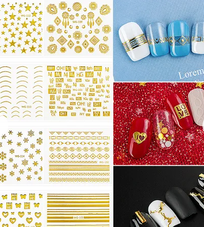 【BUY 2 GET 1 FREE!】1 Sheets Geometric Patterns 3D Nail Sticker Nail Decals Adhesive Moon Star Gold Stripes Wave Line Manicure DIY Nail Art Decoration