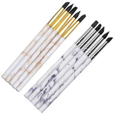 【BUY 1 GET 1 FREE!】Marble Silicone UV Gel Nail Painting Molding Art Brush Pen Set Sliver Gold