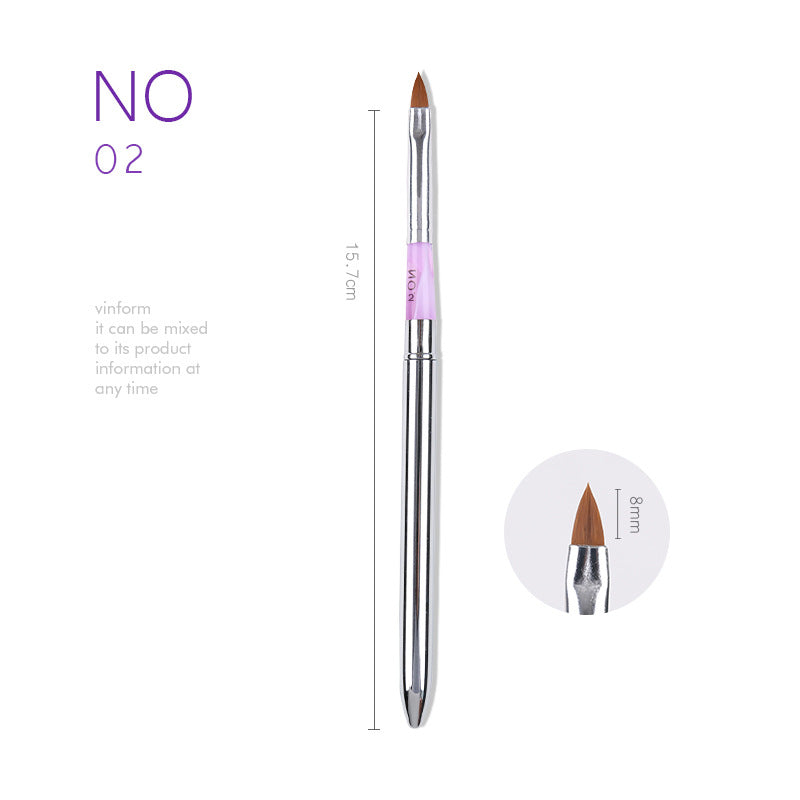 【BUY 5 GET 1 FREE 】Acrylic Nail Art Brush Pen Set Metal Handle Professional Nail Tools