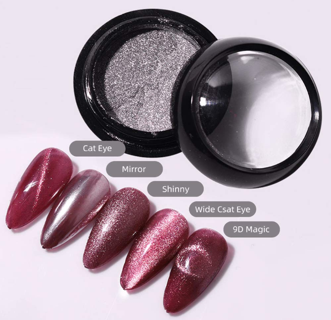 Multi-purpose Chrome Nail Powder, Cat Eye Mirror Holographic High-gloss Gilt Shiny Effect Nail Art Decoration Manicure Pigment