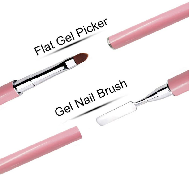 Poly Gel Builder Brush Acrylic UV Gel Nails Tips Extension Brushes (Pink)