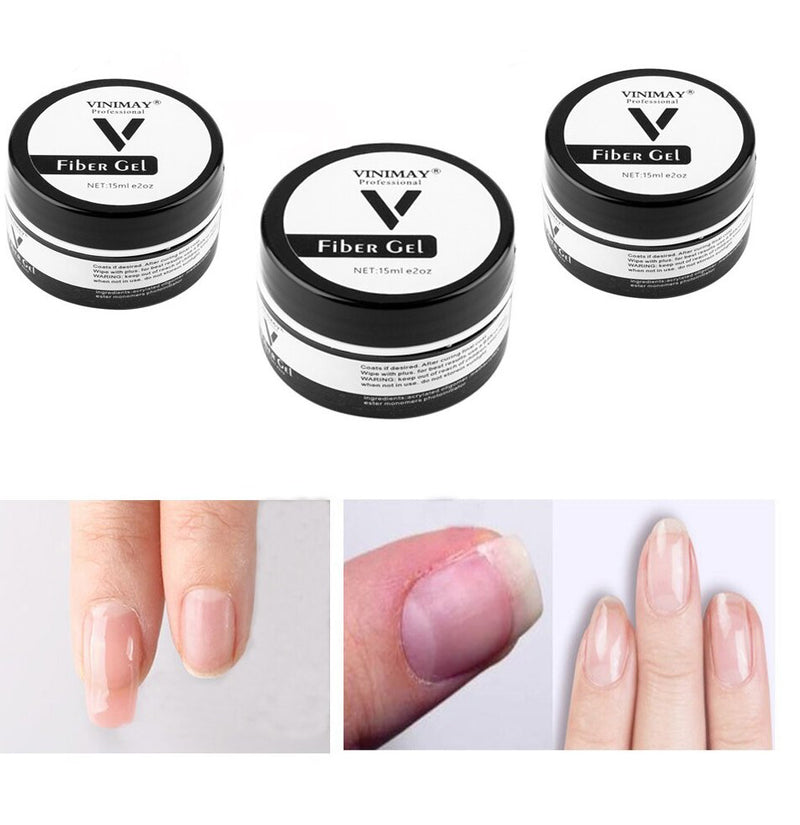 【 Buy 1 Get 1 Free 】15ml Fiber Gel UV Builder Gel for Nail Extension Nail Gel Fiber Quick Building Repairing Broken Nails UV Builder Gel Nail Brush