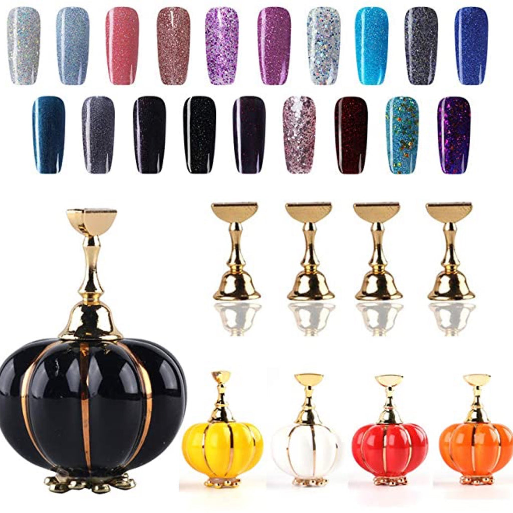1 Set Nail Art Practice Stand Holder,Magnetic Nail Tip Display Stand DIY Pumpkin Nail Training Holder Display Stand
