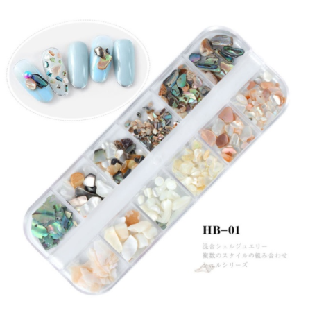 12 Styles Crushed Natural Sea Shell Nail Art Decoration Sets