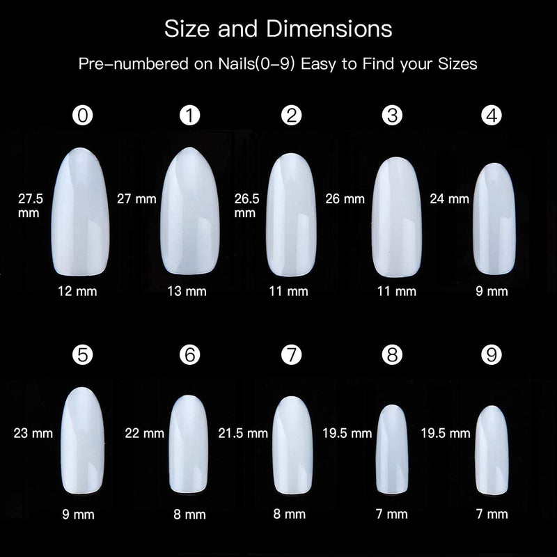 【 BUY 3 GET 1 FREE 】500pcs 10 Sizes Oval Nails Tips Press on Nails Natural/Clear Full Cover Acrylic nails