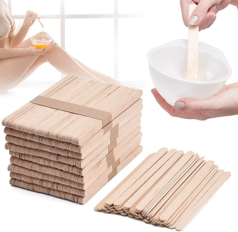 1000 pcs Wooden Wax Applicator Spatulas Sticks In A Bag 114*10*2mm