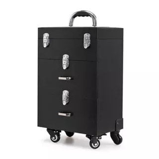 Rolling Trolley Cosmetic Cases Nails Makeup Beauty Tool Box Travel Luggage Suitcase