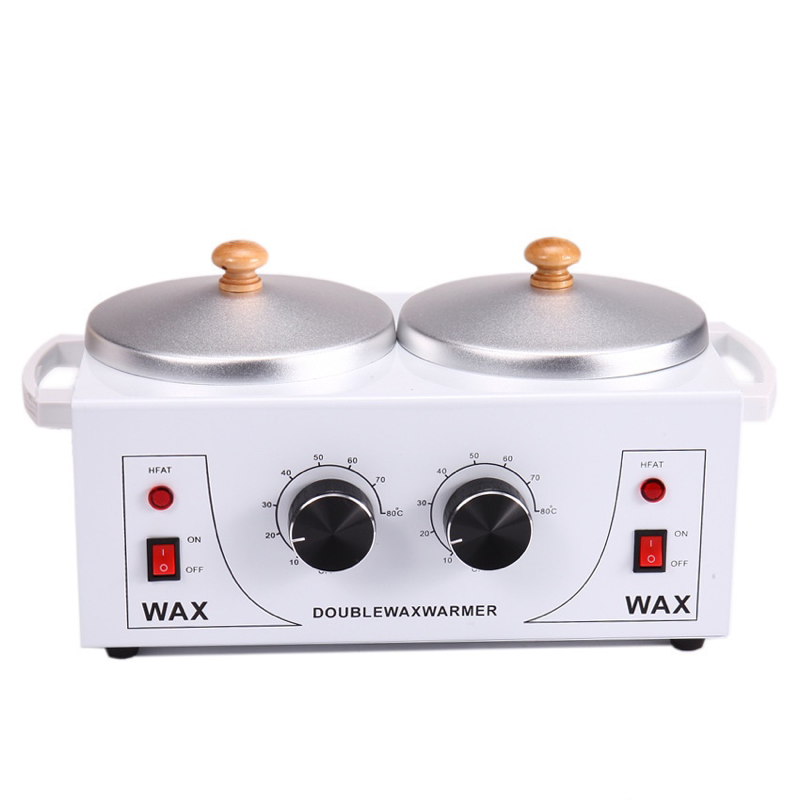 DOUBLE Wax Warmer Professional Electric Heater Dual Paraffin Hot Facial Skin Equipment SPA Adjustable Temperature Set