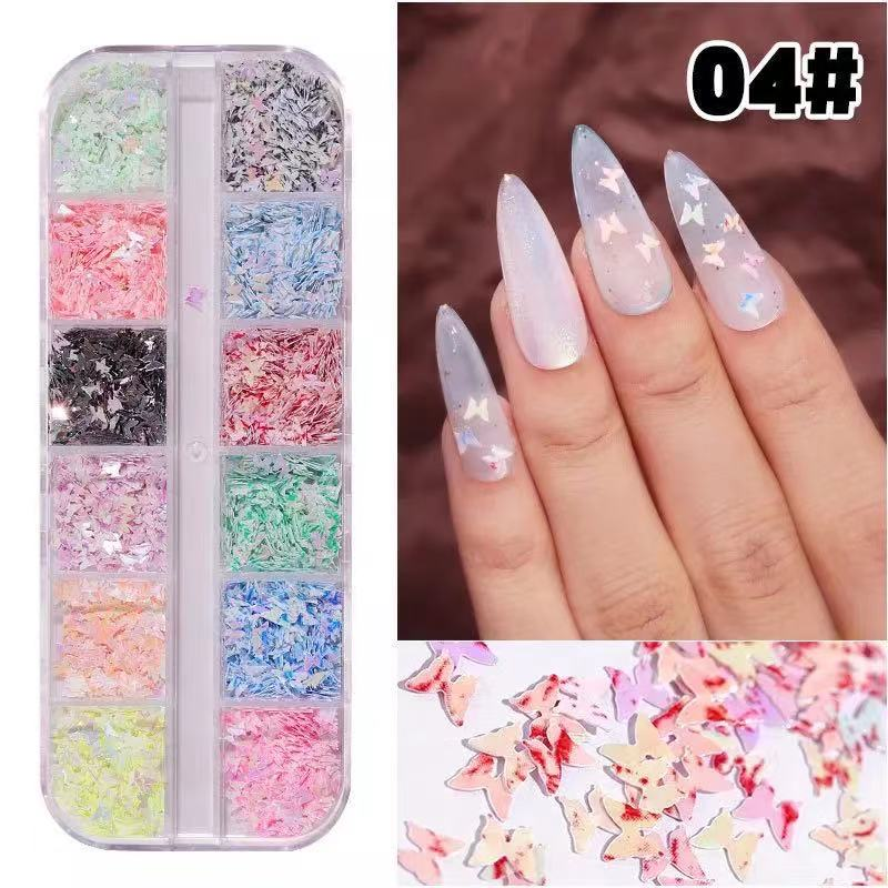 12 Grids Butterflies Nail Sequin  Glitter Nail Decal Nail Art Decal Nail Accessories