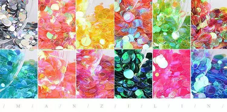 【BUY 1 GET 1 FREE!】12 Grids Glitter Semi-transparent Colorful Thin Sequins Flakes Nail Art Accessories DecalsDecoration