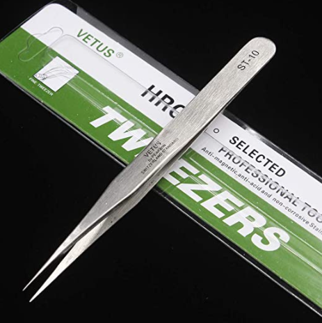 【BUY 1 GET 1 FREE!】Vetus Tweezer Professional Tweezers Tool ST-10 Non-magnetic Stainless Steel Pointed Tip