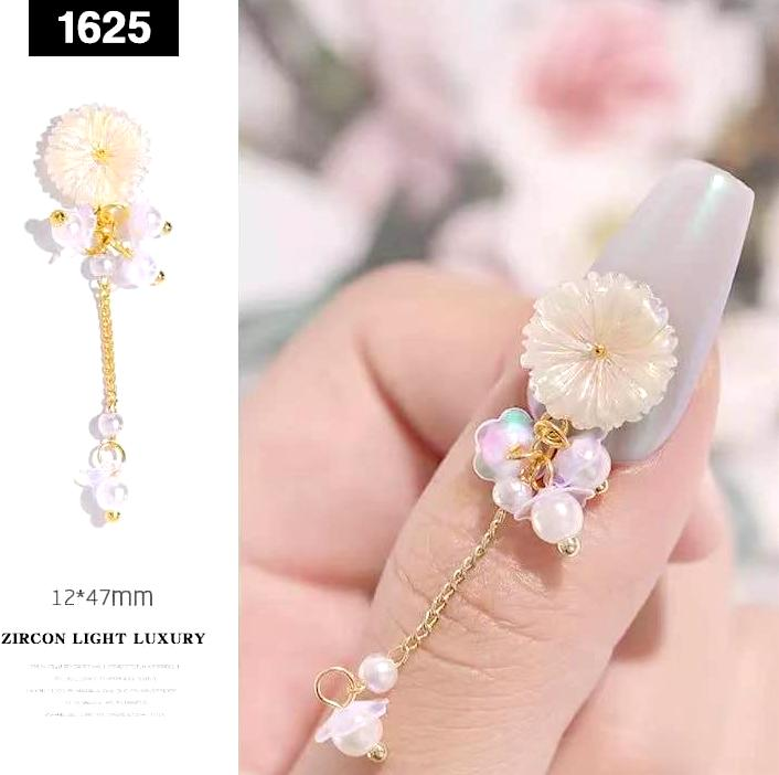 【BUY 2 GET 1 FREE!】3D Luxury Nude Colored Floral Shape Flower With Pearls Nail Charms Accessories (1pcs)