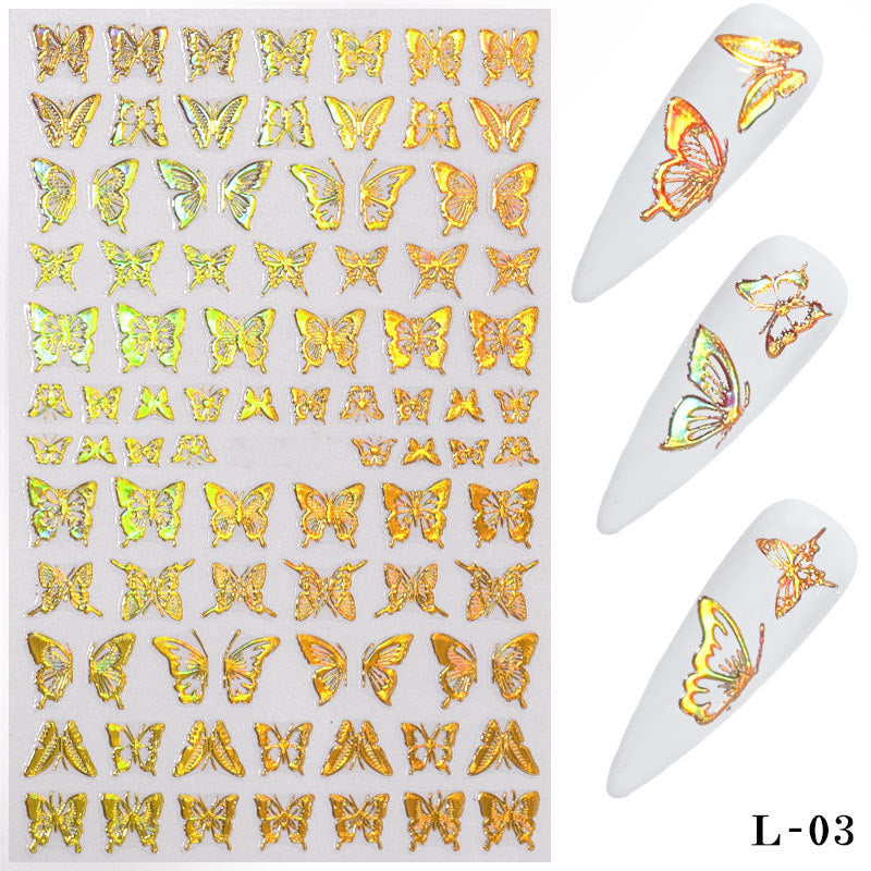 【BUY 2 GET 1 FREE!】1 Sheet Gold Silver Nail Art Laser Butterfly Stickers Spring Summer Butterfly Metal Sticker Decals Holographic Manicure Decorations