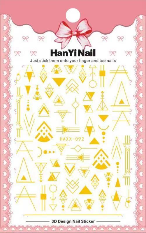 【BUY 2 GET 1 FREE!】 Geometric Lines 3D Nail Art Stickers Butterfly Leaves Balck And Gold Nail Art Transfer Decals Slider DIY Nail Art Decoration