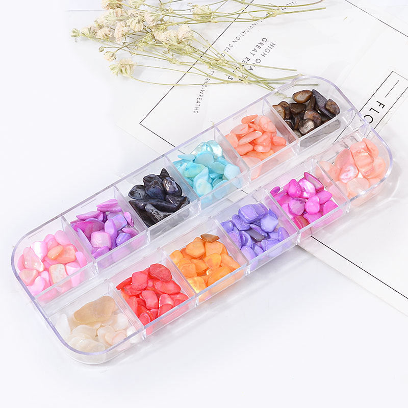 【BUY 1 GET 1 FREE!】12 Color Shell Stone Decorations Nail Art Set