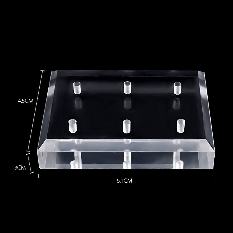 Square Clear Acrylic Nail Drill Bits Storage Base