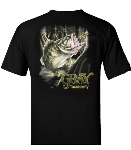 Gray Taxidermy Largemouth Bass T-Shirt