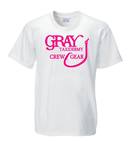 "Gray Taxidermy Crewgear ""Stuff It"" T-Shirt, White/Pink"