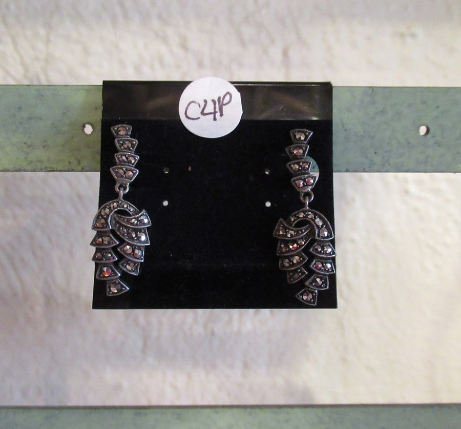 Silver toned Marcasite Clip earrings