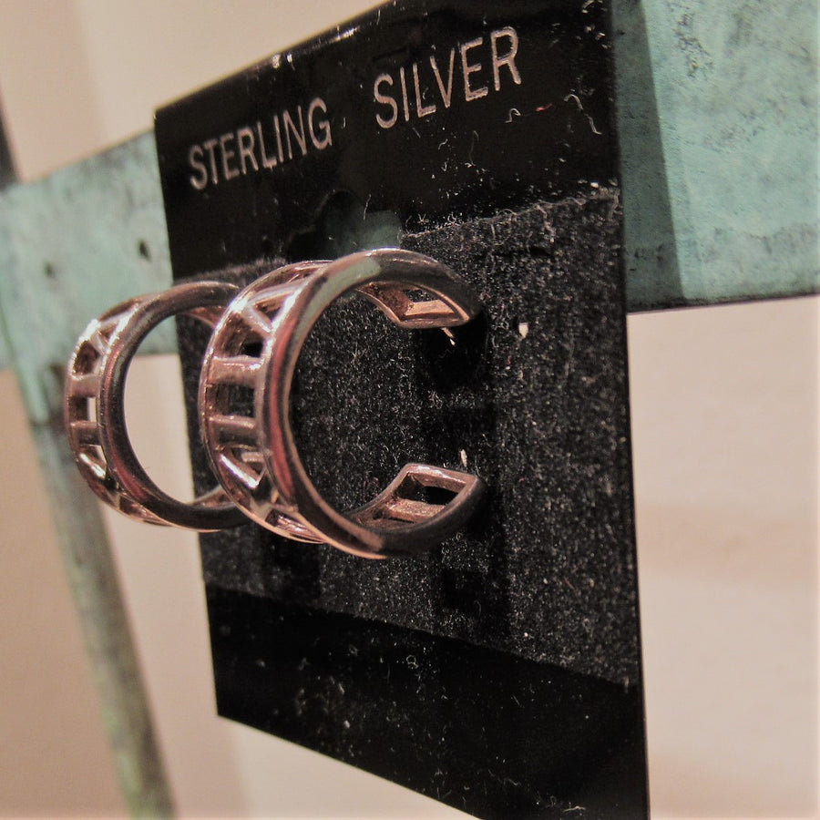 Sterling silver Cut out Hoop earrings