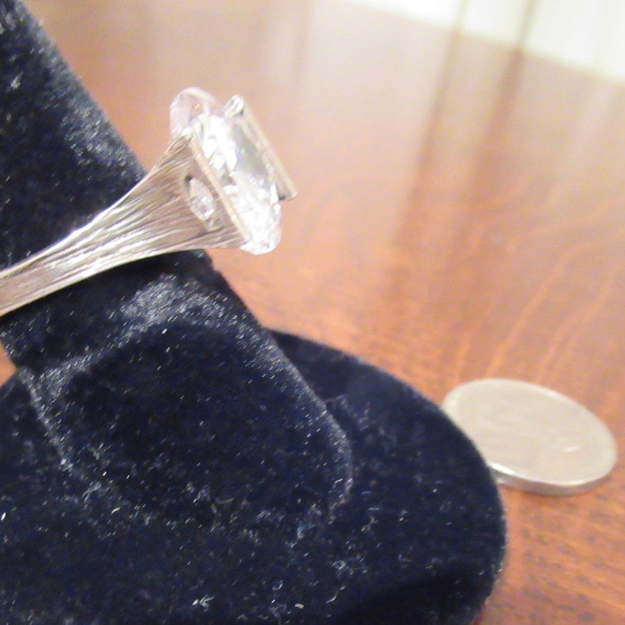 Sterling silver Round Large Faceted Clear Ring